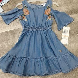 NWT Guess 2T cold shoulder chambray dress